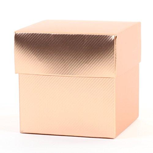 Piece Favor Boxes 2 - Koyal Wholesale 2-Piece 50-Pack Square Favor Boxes, Rose Gold