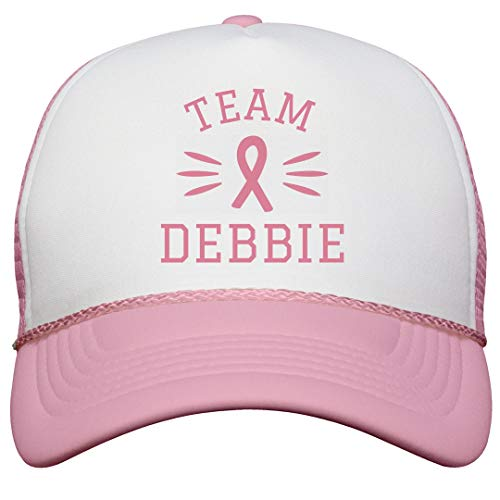 FUNNYSHIRTS.ORG Matching Breast Cancer Team Debbie: Snapback Trucker Hat (Pink Ribbon Debbie)
