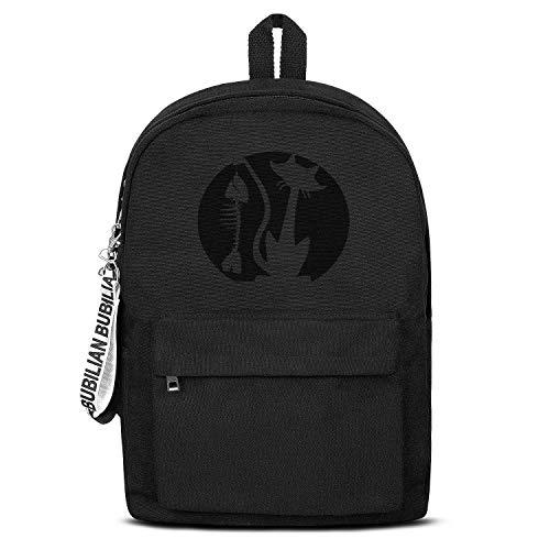 Halloween Cat Fish Bone Pattern Pumpkin Unisex Canvas Backpack Funny Satchel College Backpack for Girls Boys]()
