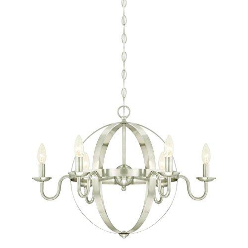 Westinghouse 6303100 Brixton Six-Light Indoor Chandelier, Brushed Nickel Finish (Nickel Chandelier Lighting)