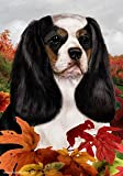 "Cheap Cavalier King Charles Tri Dog Tamara Burnett Fall Leaves Garden Dog Breed Flag 28"" x 40"""