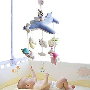 Shiloh Baby Nursery Mobile Plush Crib Decoration with 60 Tunes Musical Box and Arm (Blue Plane)