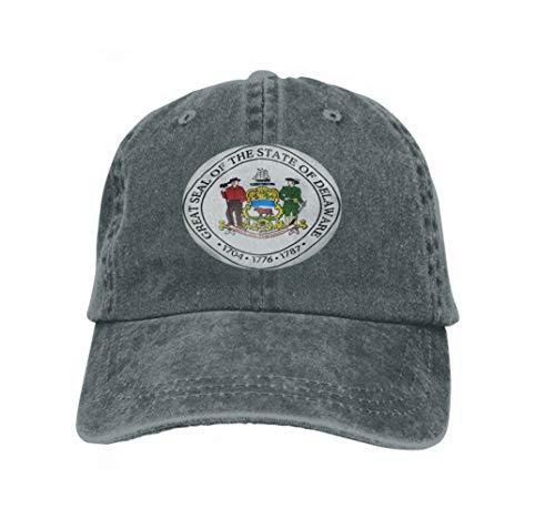 Unisex Flat Bill Hip Hop Cap Baseball Hat Head-Wear Cotton Trucker Hats State Seal Delaware USA d rendeCarbon Carbon