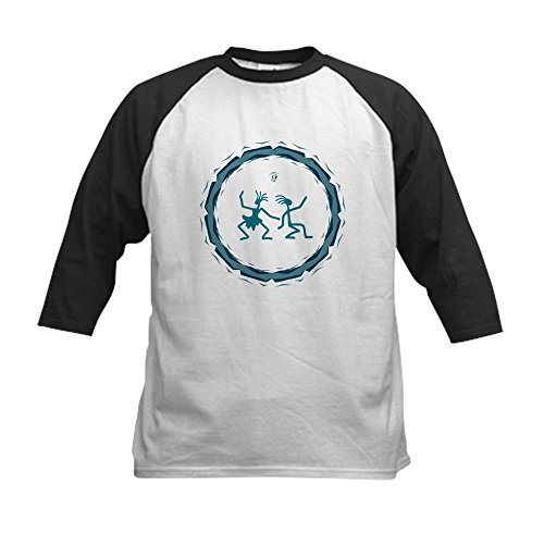 - Truly Teague Kids Baseball Jersey Primitive Dancing Duo Teal - Black/White, Medium (10-12)
