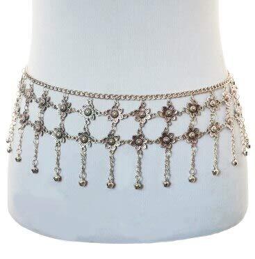 Silver Metal Dangle Flower Tassel Body Women Shimmy | Belt Dance Body Chain ()