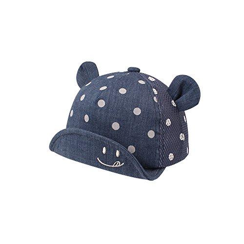 Dot Partten Baby Caps Summer Girl Boys Sun Hat with Ear Spring Summer Newborn Photography Props (Mesh Navy Dot)