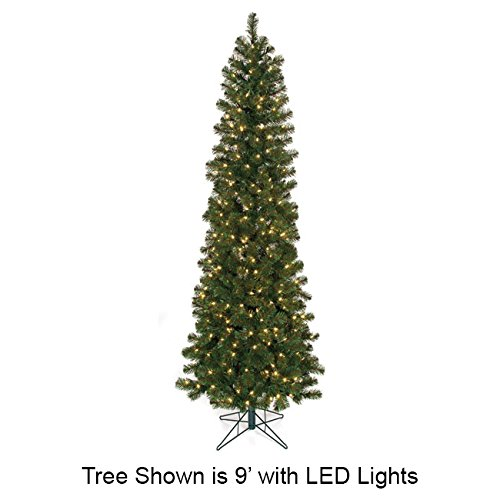 SilksAreForever 12'Hx59 W Virginia Pine LED-Lighted Artificial Christmas Tree w/Stand -Green Slim Virginia Pine Tree