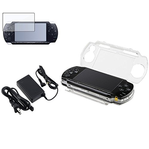 Theo&Cleo Clear LCD Screen Protector+Crystal Solid Case+Travel AC Charger For PSP 1000 (Crystal Cover Psp Protective)