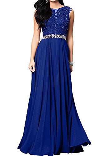 Abendkleider Damen Partykleider Linie Royal Chiffon mia Bodenlang La lang Spitze Blau Ballkleider A Braut FTXpxaE