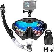 TAWAK Snorkel Set with Camera Mount, Anti-Leak Diving Snorkel Mask with Impact Resistant Tempered Glass, Anti-