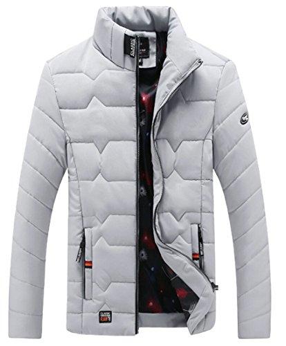 Gocgt Men Warm Cozy Zip up Stand Collar Long Sleeve Down Coat Gery