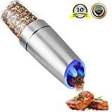 Electric Salt and Pepper Grinder, Gravity Stainless Steel Pepper Mill & Adjustable Roughness