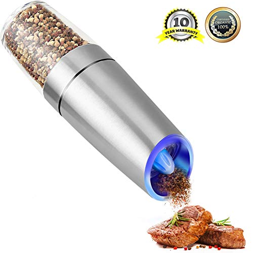 Electric Salt and Pepper Grinder, Gravity Stainless Steel Pepper Mill & Adjustable Roughness LED Lights Sea Salt and Pepper Grinder, Battery Operated Stainless Steel Pepper Grinder