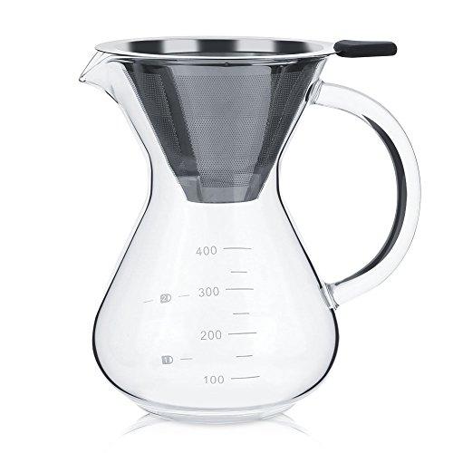 Cafetera de vidrio de 13,5 oz, cafetera de goteo manual con filtro de acero inoxidable