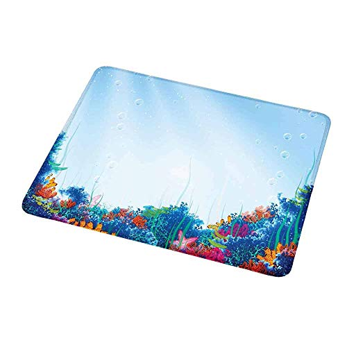 (Gaming Mouse Pad Custom Underwater,Marine Coral Reef Aquatic Scene Starfish Ocean Sea Exotic Nautucal Design,Blue Pink Orange,Custom Non-Slip Mouse Mat 9.8