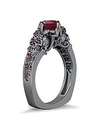 Silvernshine Jewels 2 Skull Floral & Star Design Round Red Garnet CZ Diamonds Black Gold PL Skull Ring