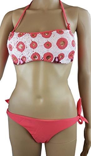 Bikini Neckholder / Bandeau mit Pailletten / Gr. 34 XS / Träger abnehmbar/ Cups herausnehmbar / apricot