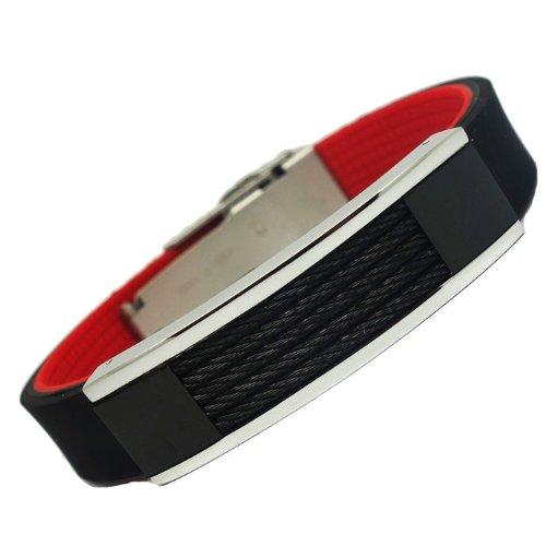 ProExl Diablo Black Cable Sports Magnetic Silicone Bracelet F-16 by Excel Bracelets