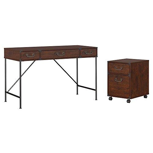 kathy ireland Home by Bush Furniture IW001CC Ironworks 48W Writing Desk and 2 Drawer Mobile Pedestal, Coastal Cherry