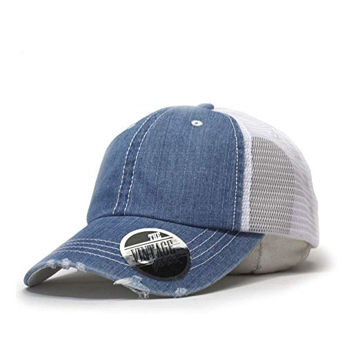 (Vintage Year Washed Cotton Low Profile Mesh Adjustable Trucker Baseball Cap (Distressed Denim Blue) )