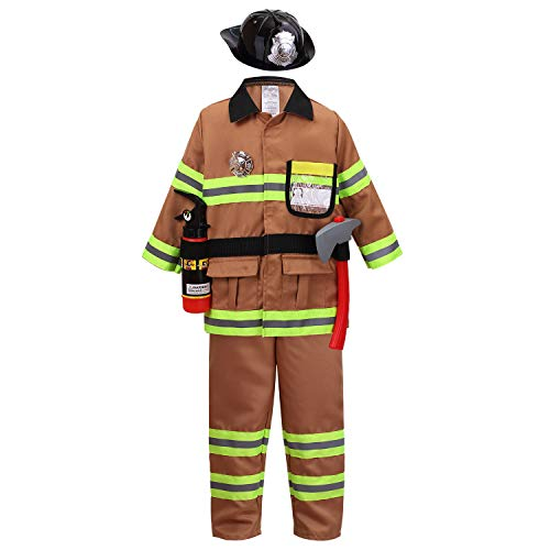 (yolsun Tan Fireman Costume for Kids, Boys' and Girls' Firefighter Dress up and Role Play Set (7 pcs) (4-5Y,)