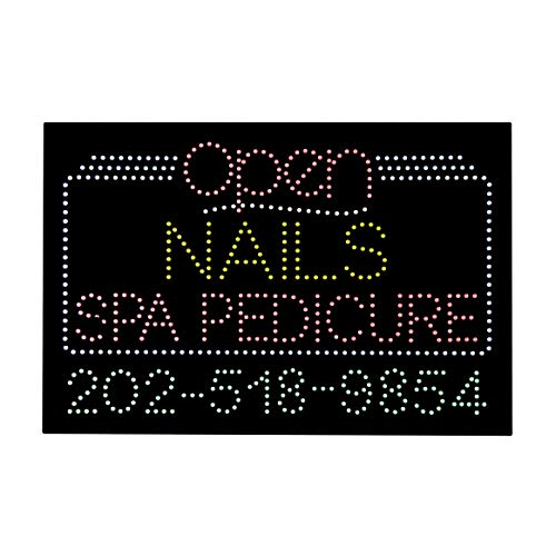 LED Nails Spa Pedicure Open Light Sign Super Bright Electric Advertising Message Display Board for Business Shop Store Window Bedroom 36 x 24 inches by HIDLY (Image #1)