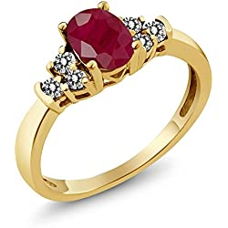 0.86 Ct Oval Red Ruby White Diamond 18K Yellow Gold Ring
