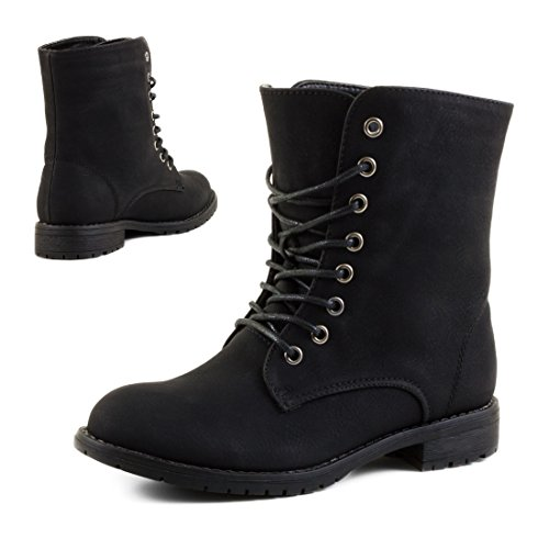 Damen Schnür Stiefeletten Worker Boots mit Strass und Reißverschluss in hochwertiger Lederoptik Schwarz/Schwarz Basic