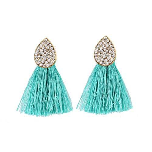 Latest Earrings New Style Fashion (Beuu 2018 New Tasseled Diamond Earrings Spherical Style Rhinestones Tassel Dangle Stud Fashion Jewelry Jewelry Earring Women'S Fashion (Green))