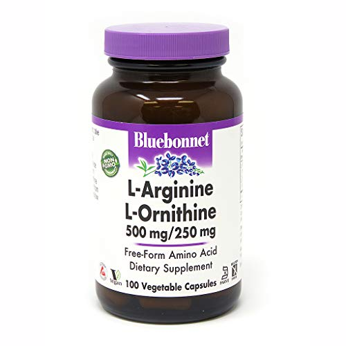Bluebonnet L-Ornithine 500 mg/250 mg Vitamin Capsules, 100 Count