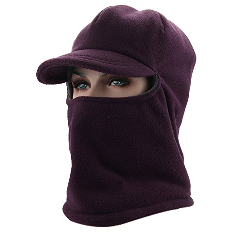 Leories Winter Windproof Cap Fleece Balaclava Hooded Face Mask Neck Warmer Ski Hood Snowboard Mask Wind Protector Ski Hat Purple