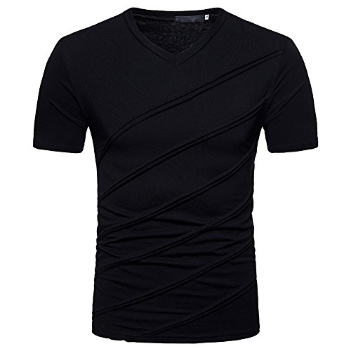 Price comparison product image YOMXL Men's Slim-Fit Short Sleeve T Shirt V-Neck Striped Design Fashion T-Shirts Classic Jersey Tee Tops Black