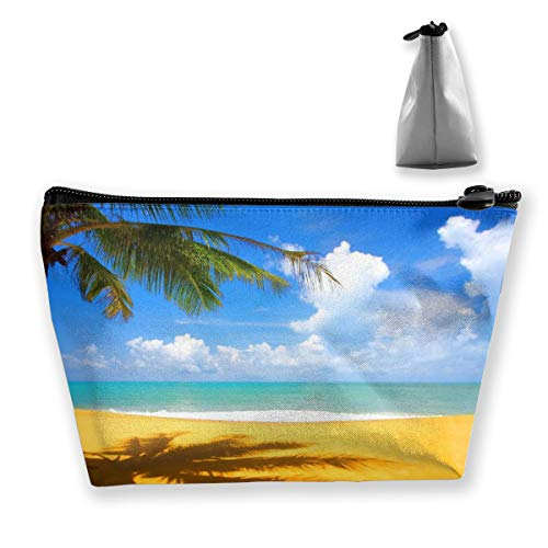 Summer Sunlight Beach Palm Tree With Blue Clear Storage Bag Organizer Portable Gift for Girls Women Large Capacity Travel Makeup Train Case for Makeup Brushes Digital Accessories Lazy Tote Bag