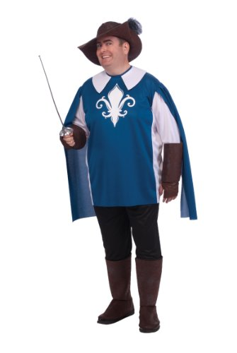 Rubie's Costume Adult Full Cut Musketeer Costume, Blue/Black, (Musketeer Costume Men)