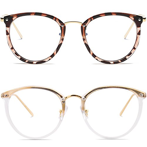 Amomoma Fashion Round Eyewear Frame Eyeglasses Optical Frame Clear Lens Glasses Havana - Eyeglasses Frame Without