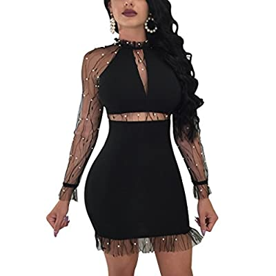 Dreamparis Women's Sexy Mesh Patchwork Bodycon Dress Pearl Beaded Long Sleeve Stand Collar Bandage Mini Dress