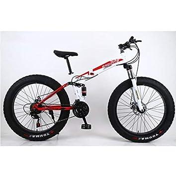 """L&LQ 26"""" Bicicleta De Montaña Plegable De Aleación 27 Velocidad Doble Suspensión 4.0 Pulgadas Bicicleta"""