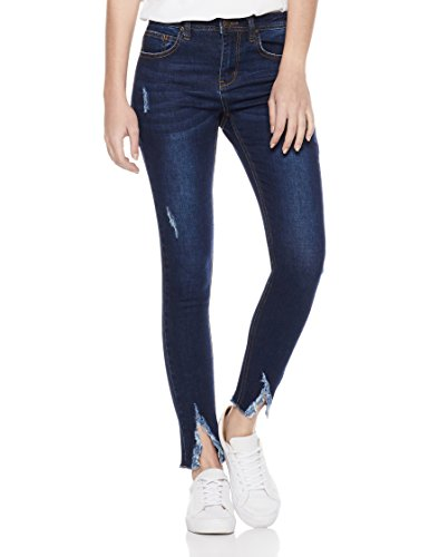 Lily Parker Women's Destroyed Ripped Hems Slimming Pants Skinny Jean 8114 26 Dark Blue