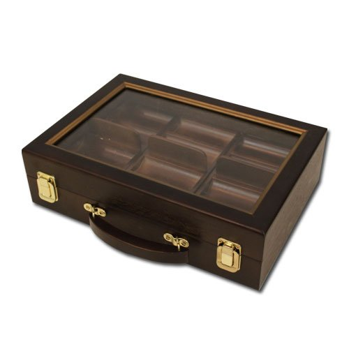 Walnut Poker Chip Case with Glass Cover - Fits 300 Chips!