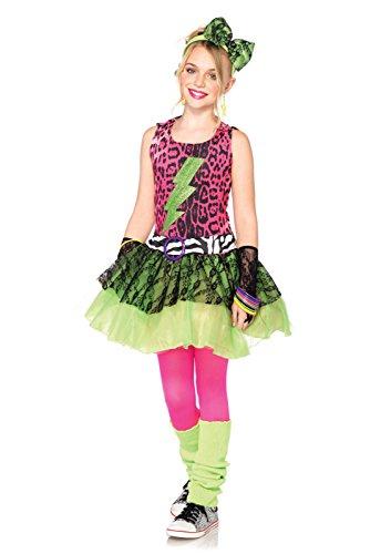 Leg Avenue Costumes 3Pc.Totally 80S Amy Animal Print Dress Lace Arm Piece Headpiece Children's, Black/Pink, Large