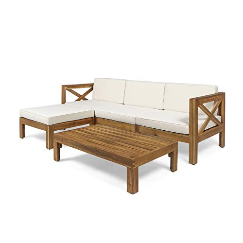 Great Deal Furniture Mamie Outdoor Acacia Wood 5 Piece Sofa Set, Teak and Beige