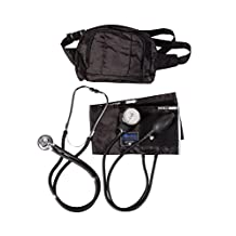 MABIS MatchMates Aneroid Sphygmomanometer Manual Blood Pressure Monitor Fanny Pack Kit with Calibrated Adult Nylon Arm Cuff and Sprague Rappaport Stethoscope, Black