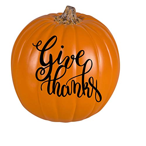 Orange Thanksgiving Give Thanks Pumpkin- 9 Inches]()