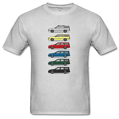 Men's A Stack of Volvo 850 V70 T5 Swedish Turbo Wagons Funny Floral Print T Shirt Creative Graphic T-Shirt Classic Tee M Gray ()