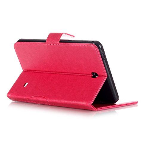 JIALUN-Personality teléfono shell Samsung Tab 4 7.0 funda, caja de cuero de la PU de color sólido Flip funda con soporte para tarjeta de crédito Samsung Tab 4 7.0 pulgadas T230 T231 Seguridad y Moda ( Rose