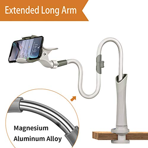 Cell Phone Clip Holder,Gooseneck Clamp Lazy Bracket Flexible Long Arms Clip Mount for 3.5-6.3 inches Phones Stand Used for Desk,Bed Post,Counter Top,Kitchen,Office