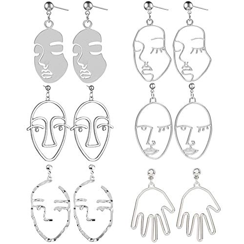 Face Earring Set- 6 Pair Plated White Gold Tone Hypoallergenic Earrings for Girls Teens Women Earrings Including Hollow Face Hand Shape White Gold Statement Earrings
