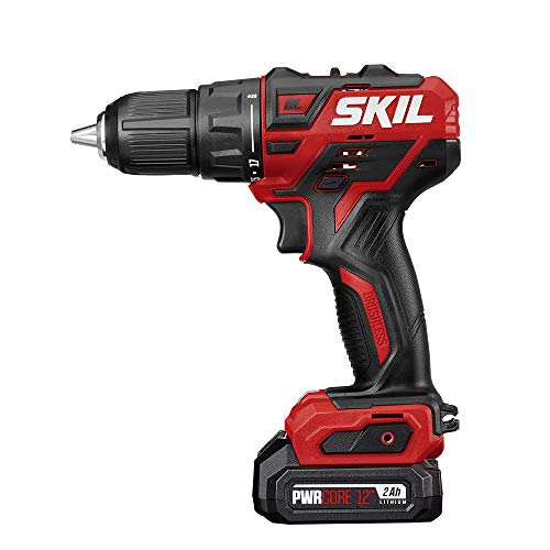 - SKIL PWRCore 12 Brushless 12V 1/2 Inch Cordless Drill Driver, Includes 2.0Ah Lithium Battery and Standard Charger - DL529003