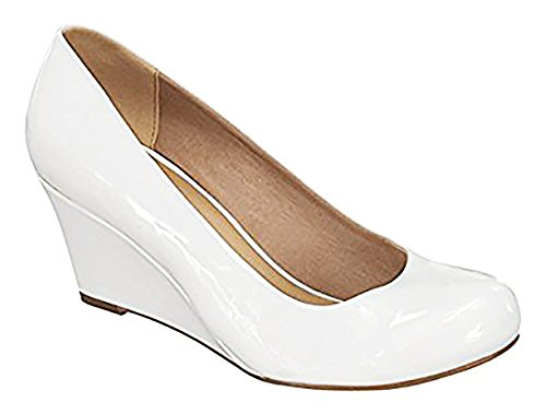 - Forever Doris-22 Wedges Pumps-Shoes mve Shoes Doris 22 White pat Size 10