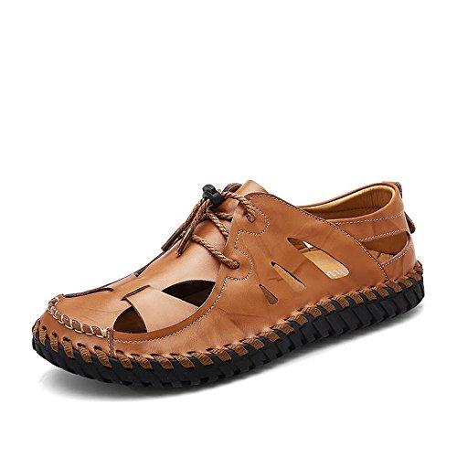 Brown shoes 2018 moda da Tacco on Scarpe Tacco da piatto comfort Yellow regolabile alla Slip sandali i uomo regolabile caviglia uomo alla allacciare qOKrBqwRc